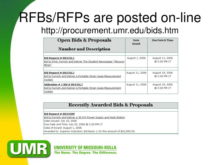 RFBs/RFPs are posted on-line