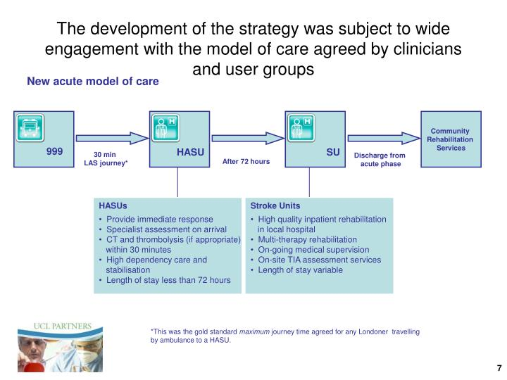 The development of the strategy was subject to wide engagement with the model of care agreed by clinicians and user groups