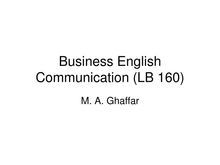 Business english communication lb 160