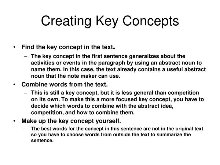 Creating Key Concepts