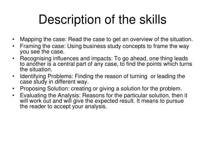 Description of the skills