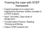 framing the case with step framework