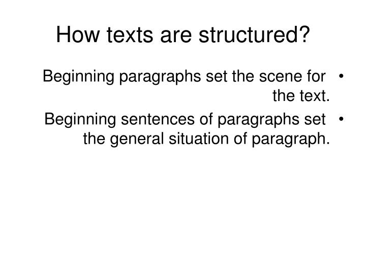 How texts are structured?