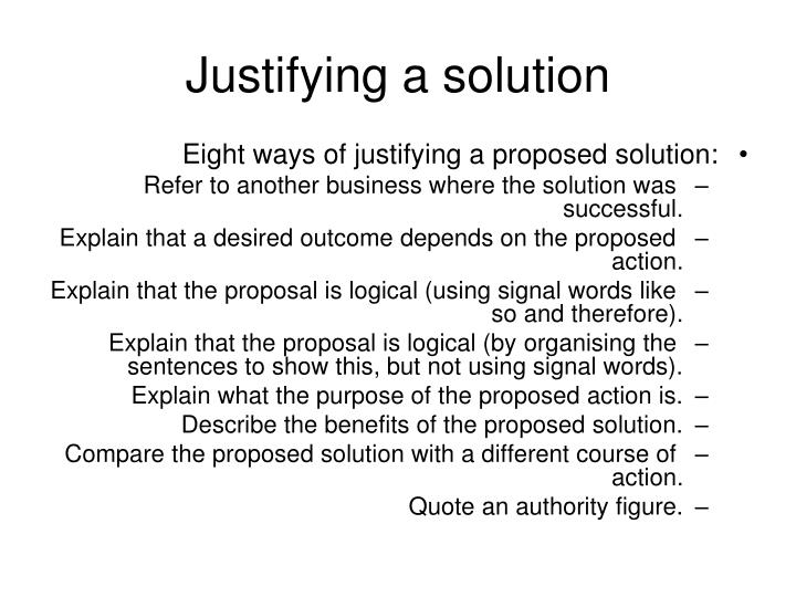 Justifying a solution