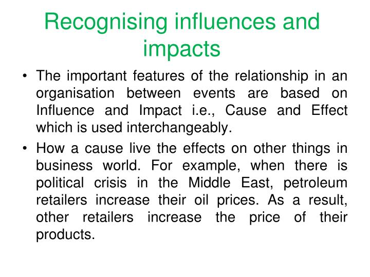 Recognising influences and impacts
