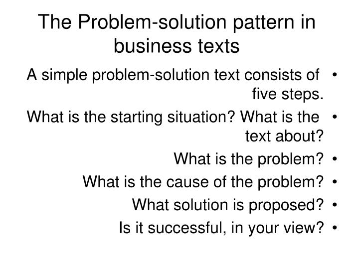 The Problem-solution pattern in business texts