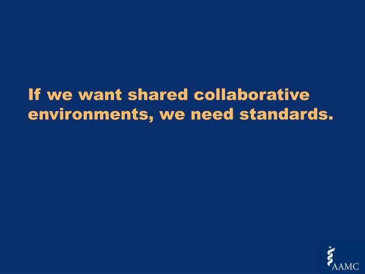 If we want shared collaborative environments, we need standards.