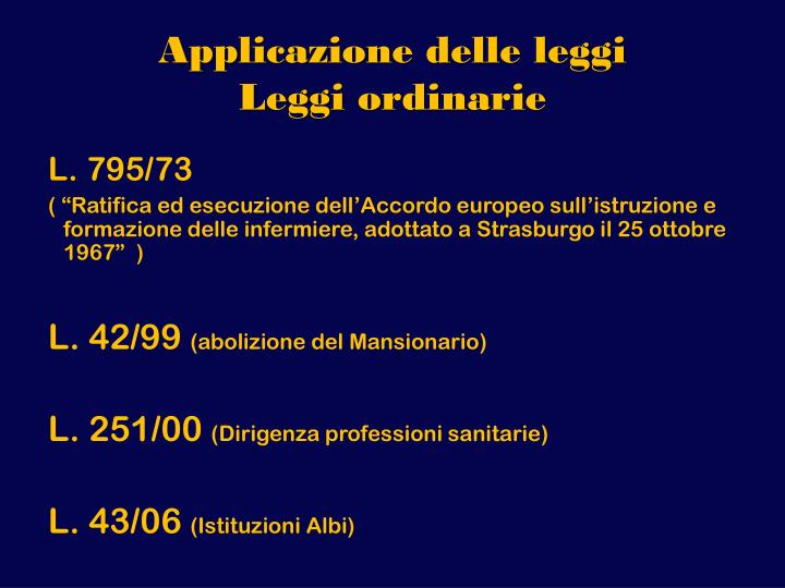Applicazione delle leggi