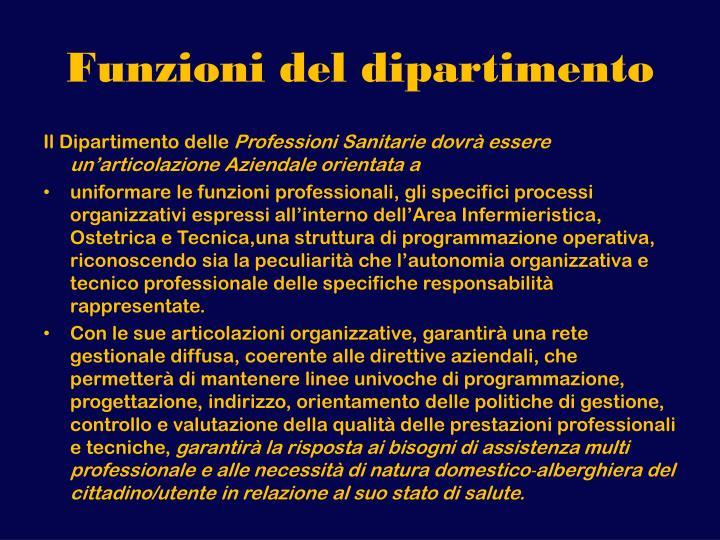Funzioni del dipartimento