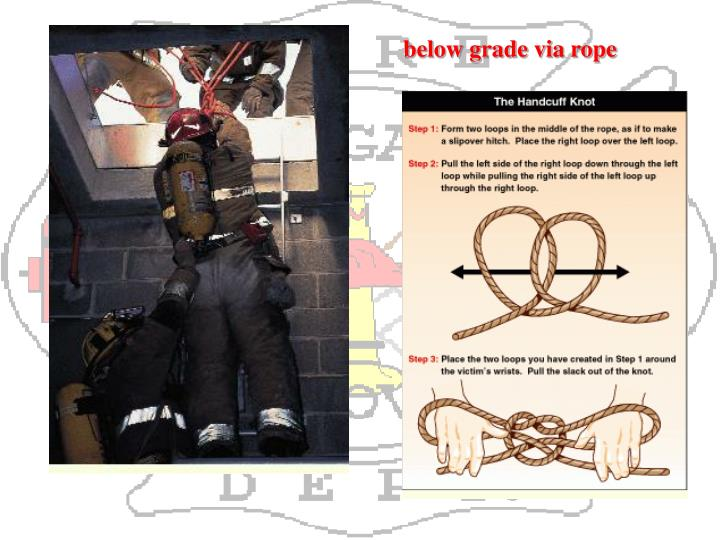 below grade via rope
