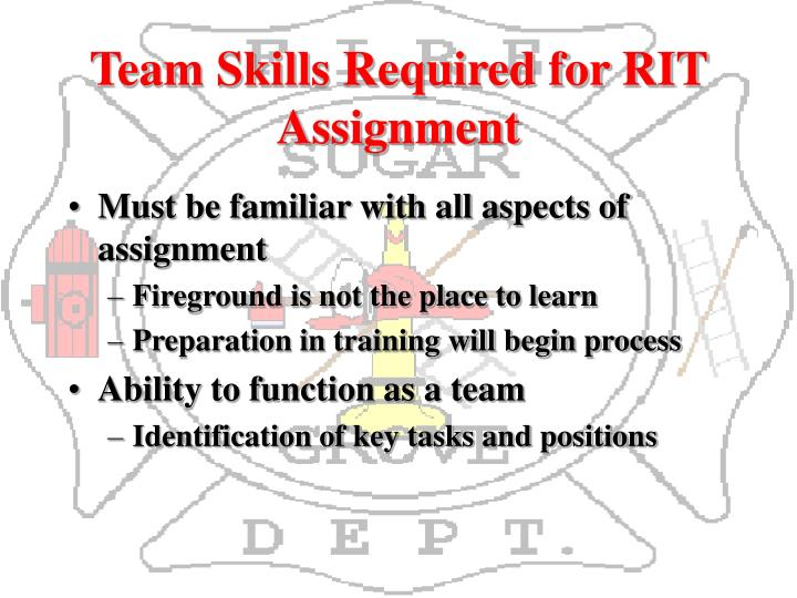 Team Skills Required for RIT Assignment
