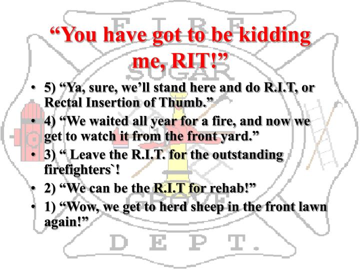 """You have got to be kidding me, RIT!"""