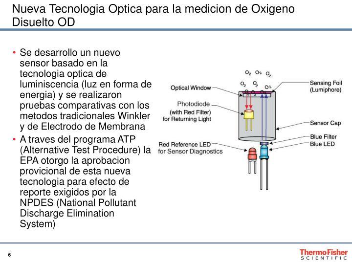 Nueva Tecnologia Optica para la medicion de Oxigeno Disuelto OD