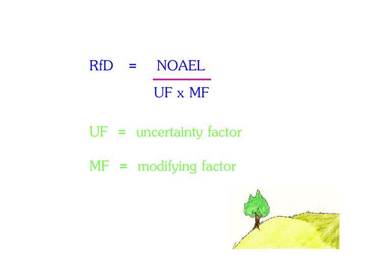 RfD   =    NOAEL