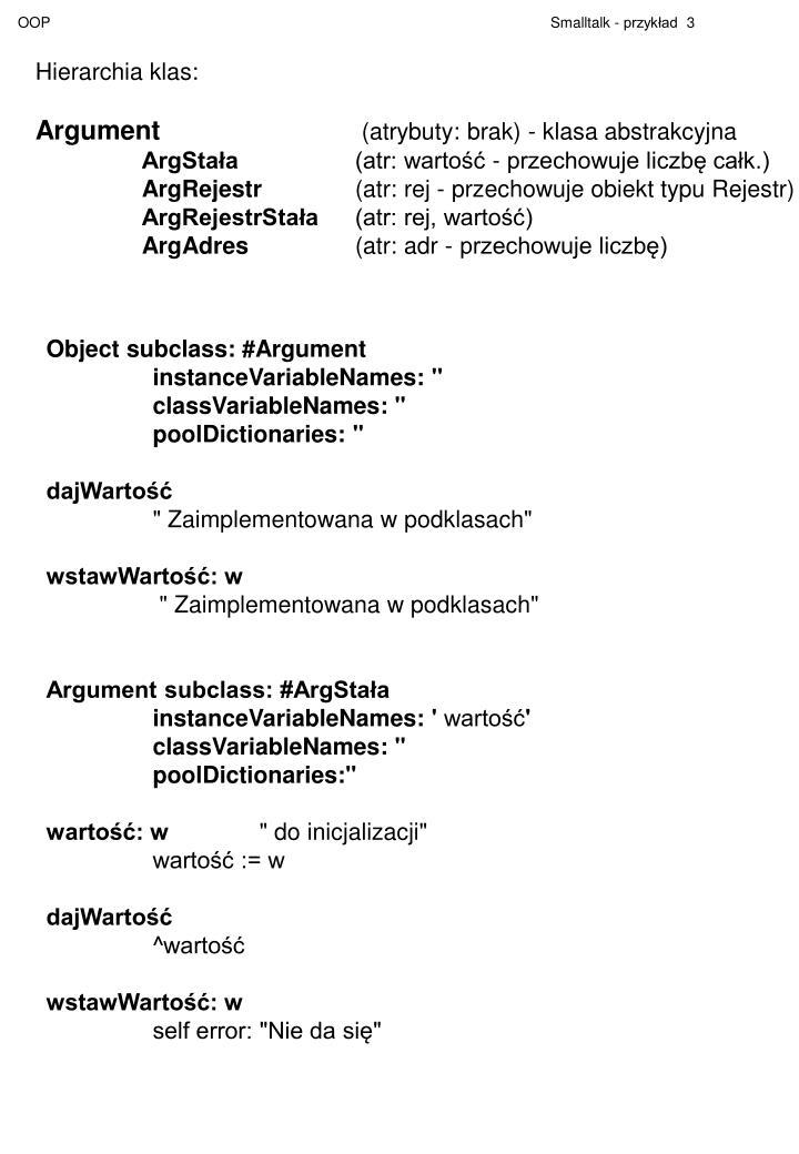 Hierarchia klas: