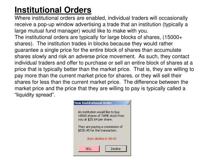 Institutional Orders