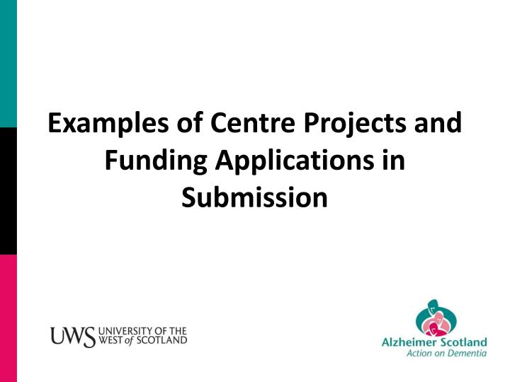 Examples of Centre Projects and Funding Applications in Submission