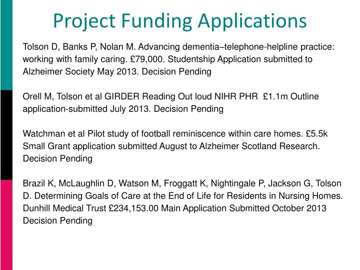 Project Funding Applications
