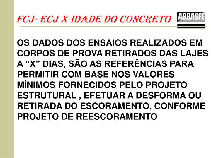 fcj- Ecj X IDADE DO cONCRETO