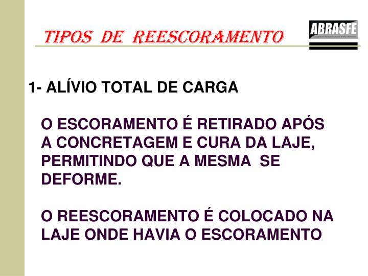 1- ALÍVIO TOTAL DE CARGA
