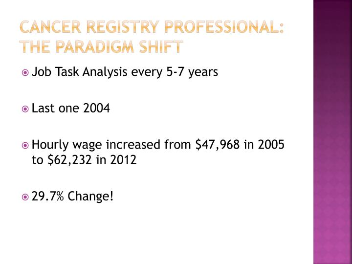 Cancer Registry professional: the paradigm shift
