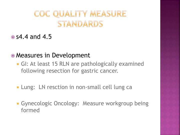 Coc quality measure standards