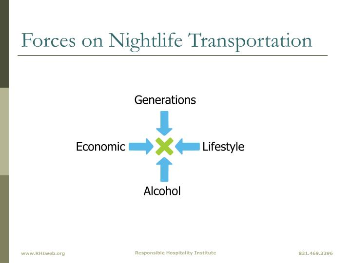 Forces on Nightlife Transportation
