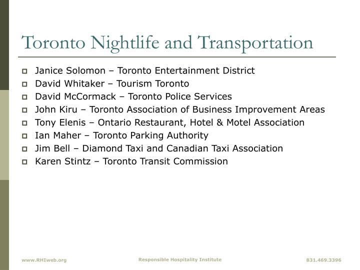 Toronto Nightlife and Transportation
