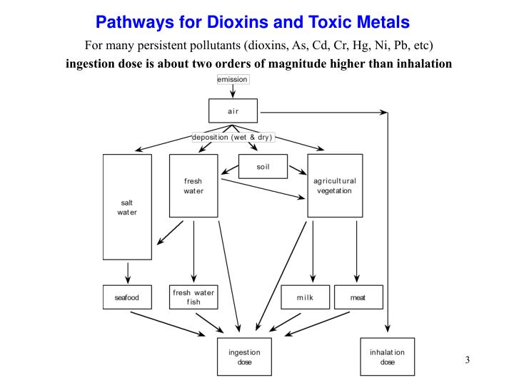 For many persistent pollutants (dioxins, As, Cd, Cr, Hg, Ni, Pb, etc)