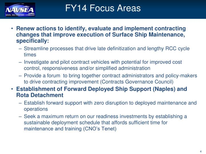 FY14 Focus Areas
