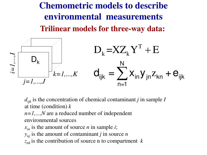 Chemometric models to describe  environmental  measurements