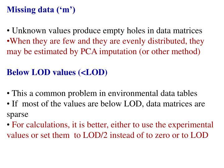 Missing data ('m')