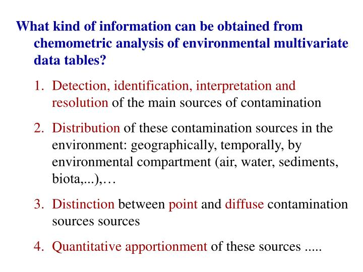 What kind of information can be obtained from chemometric analysis of environmental multivariate data tables?