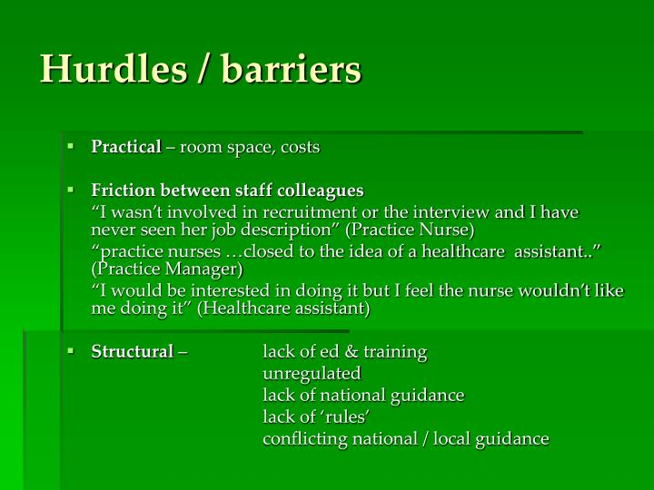 Hurdles / barriers