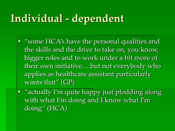Individual - dependent