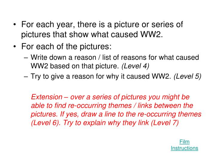 For each year, there is a picture or series of pictures that show what caused WW2.