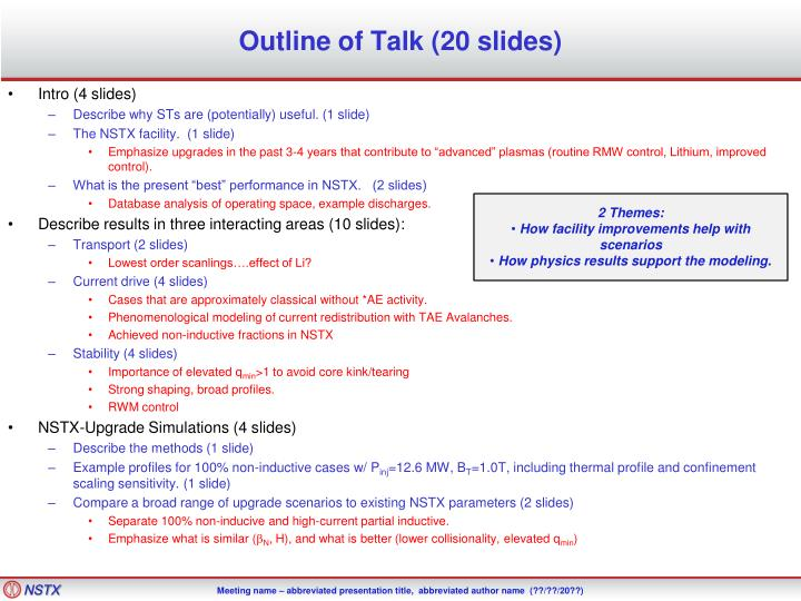 Outline of Talk (20 slides)