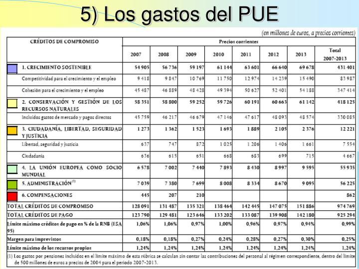 5) Los gastos del PUE