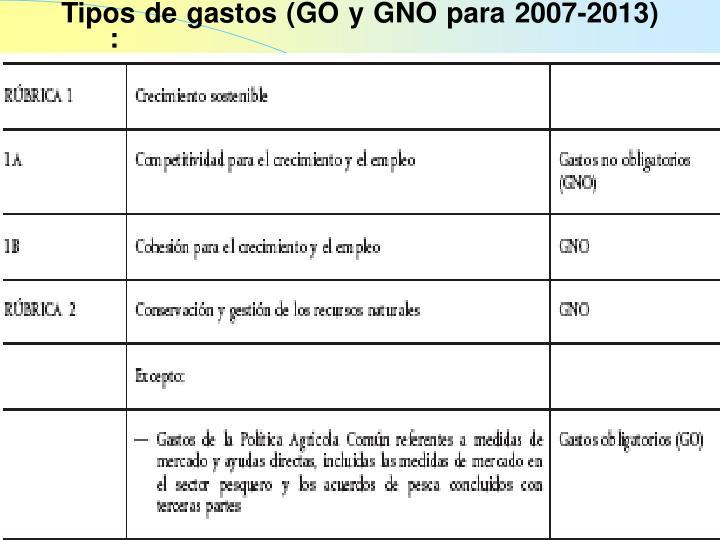 Tipos de gastos (GO y GNO para 2007-2013) :