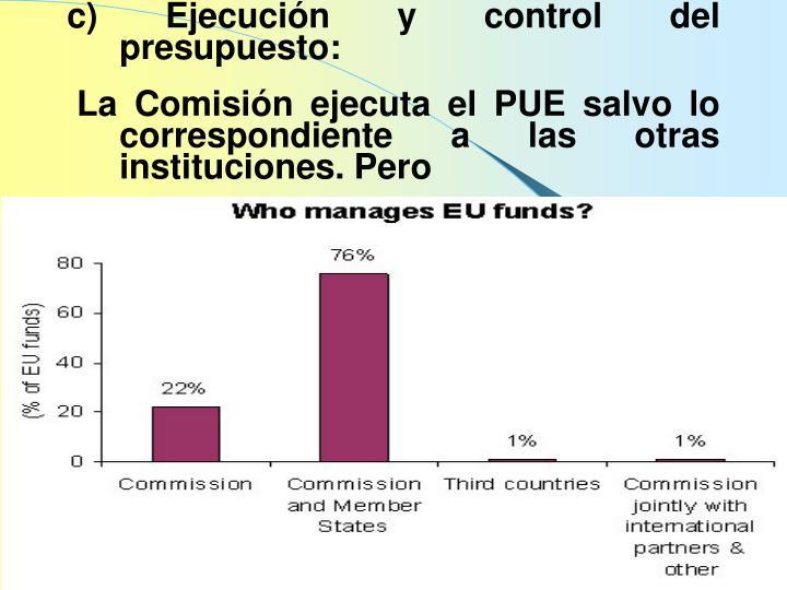 c) Ejecución y control del presupuesto: