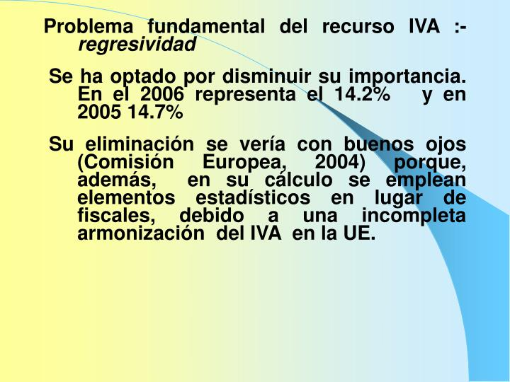 Problema fundamental del recurso IVA :-