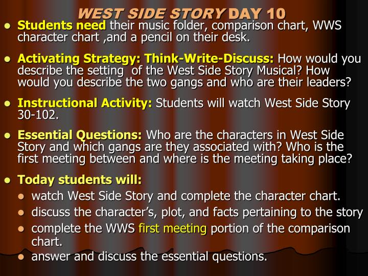 romeo and juliet compared to west Romeo and juliet: compare and contrast act 2 romeo and juliet compared to west side story we have recently been studying two different stories in our class.