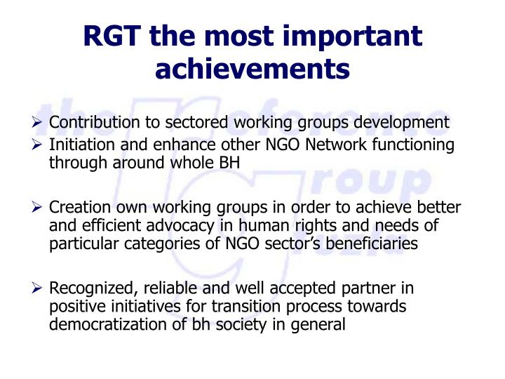 Contribution to sectored working groups development
