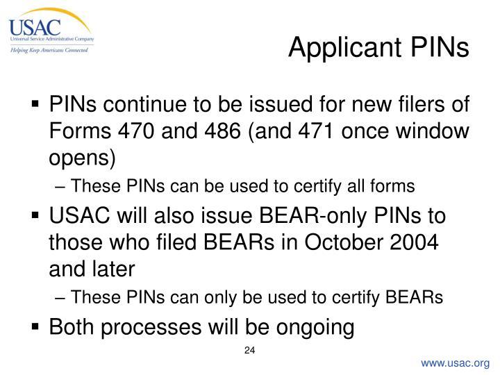 Applicant PINs