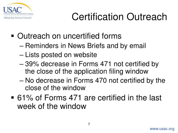 Certification Outreach