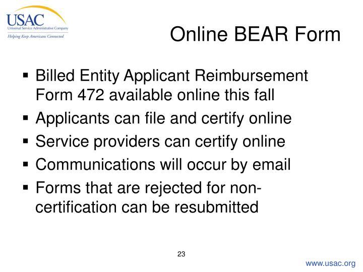 Online BEAR Form