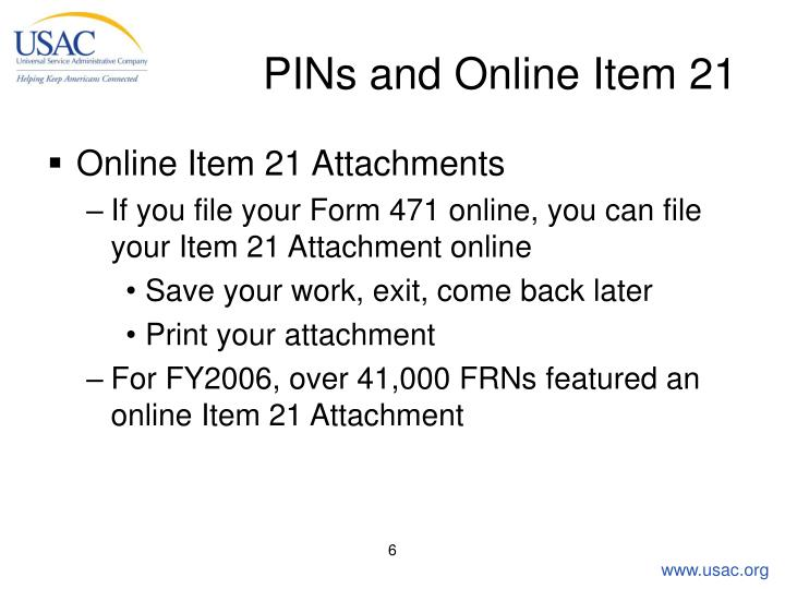 PINs and Online Item 21