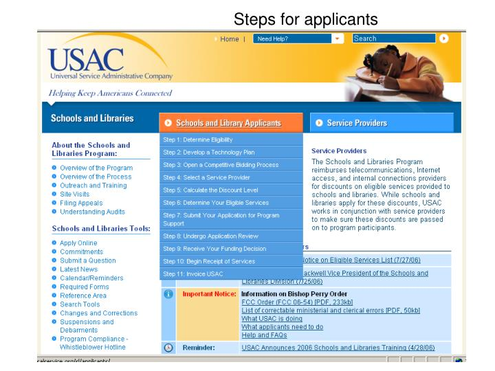 Steps for applicants