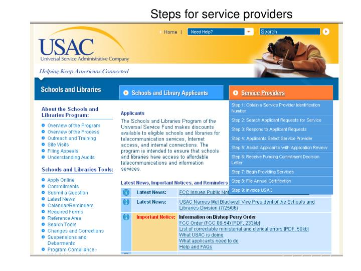 Steps for service providers