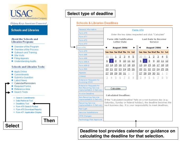 Select type of deadline